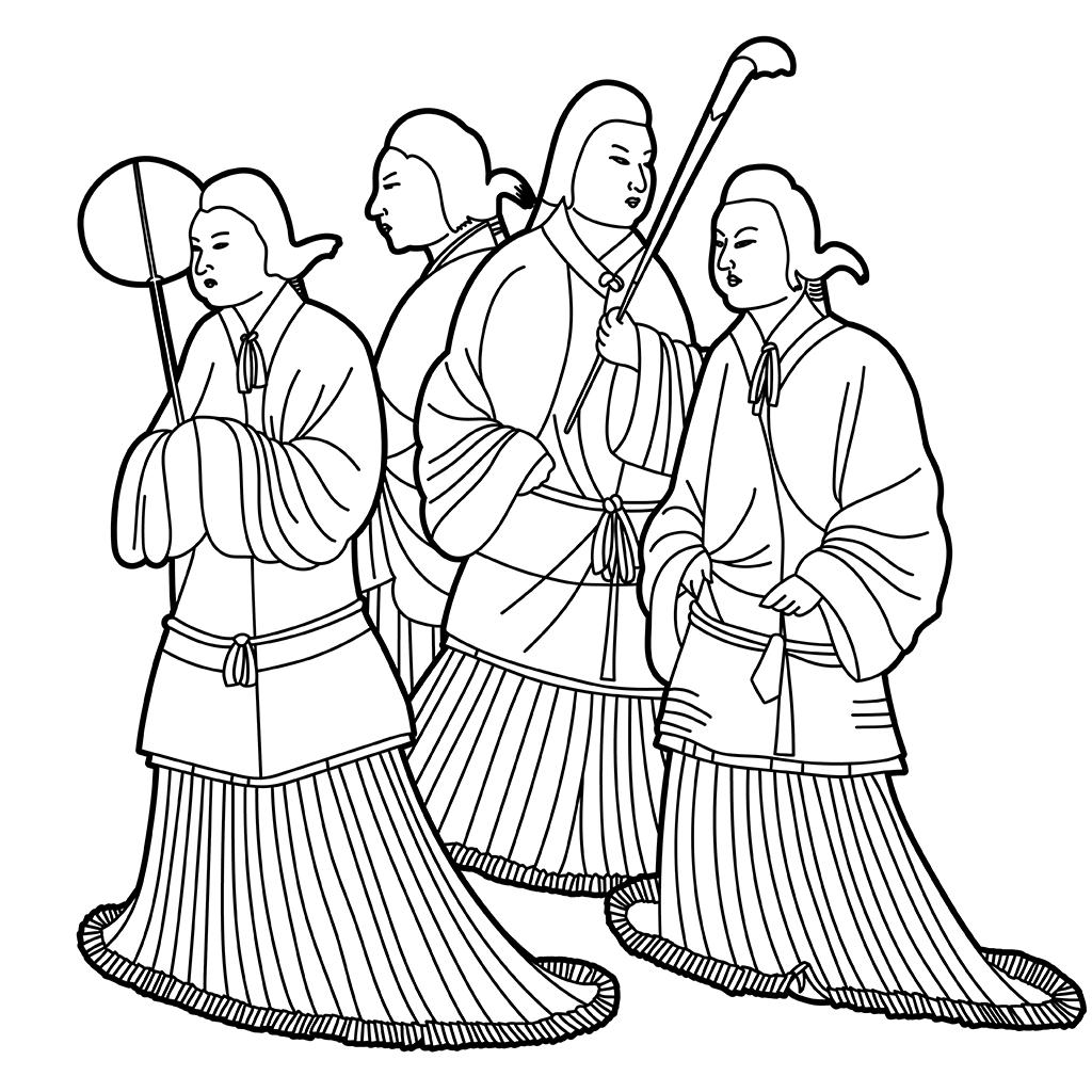 高松塚古墳壁画:黒線バージョン