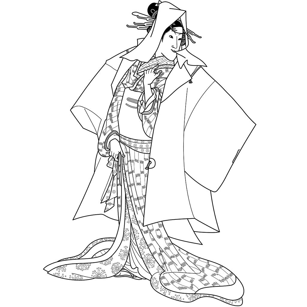 五代目岩井半四郎の芸子かしく:黒線バージョン