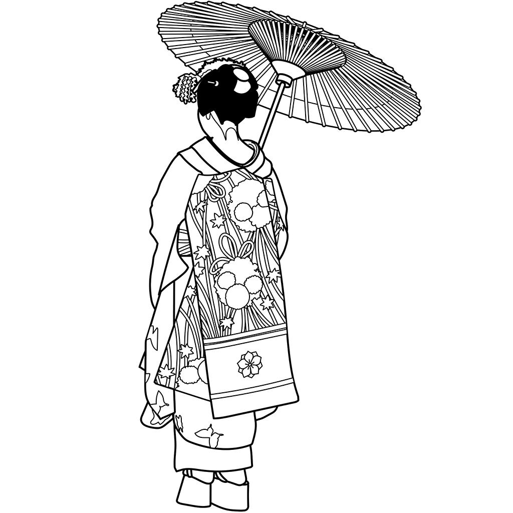 舞妓さん:黒線バージョン