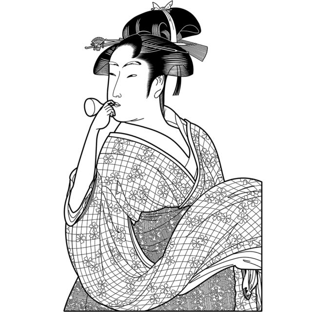 ポッピンを吹く女:黒線バージョン