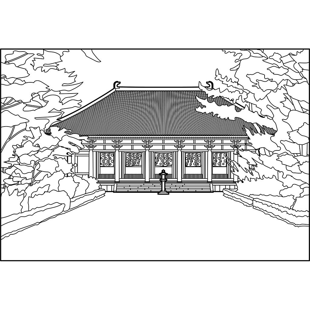 唐招提寺金堂:黒線バージョン