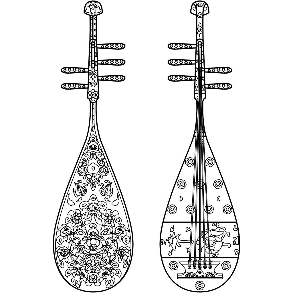 螺鈿紫檀五絃琵琶:黒線バージョン