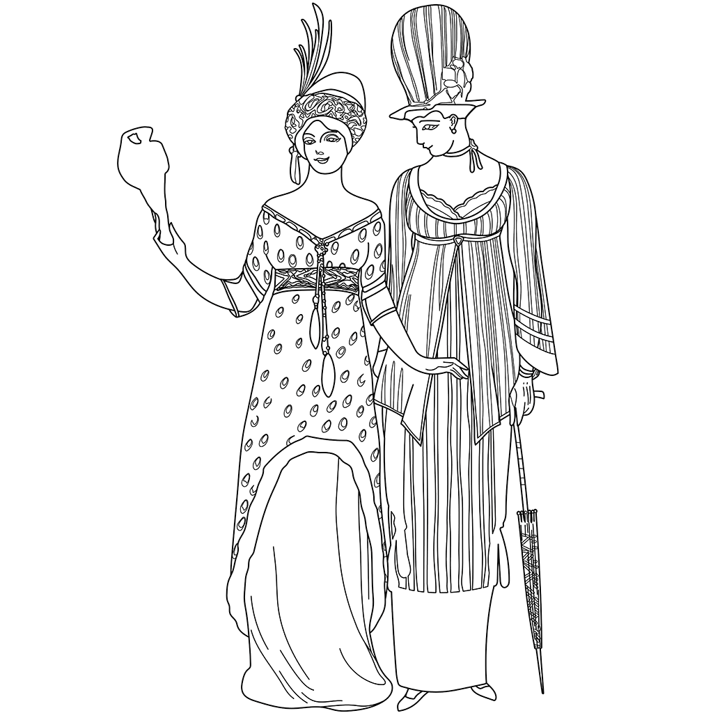 服飾デザイン:黒線バージョン