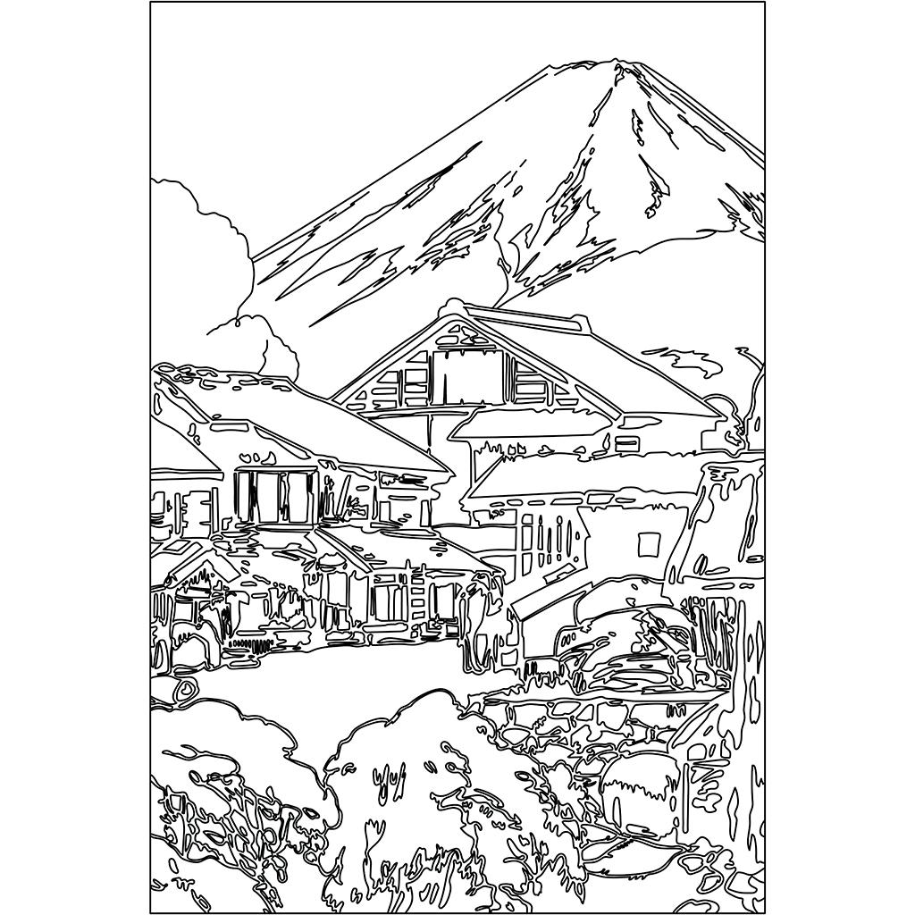 富士拾景 船津:黒線バージョン