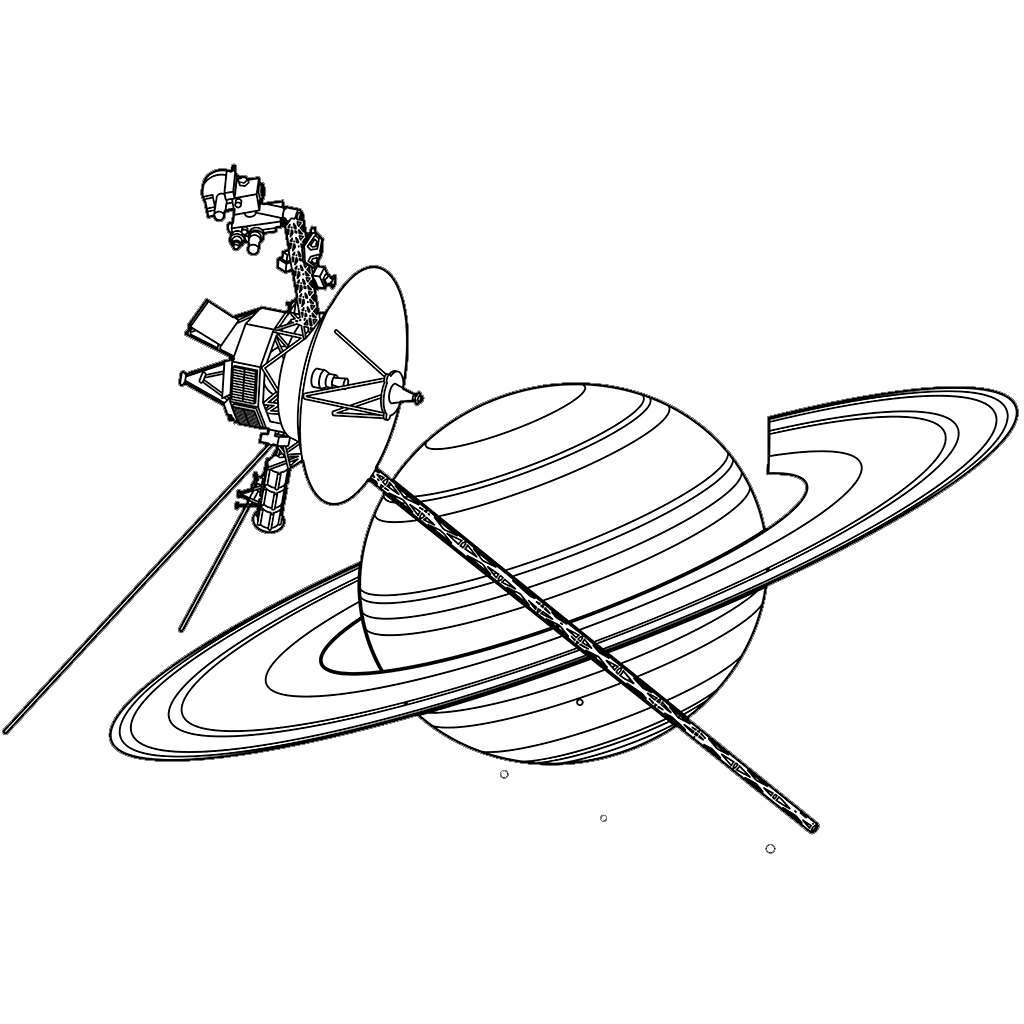 ボイジャー2号と土星:黒線バージョン