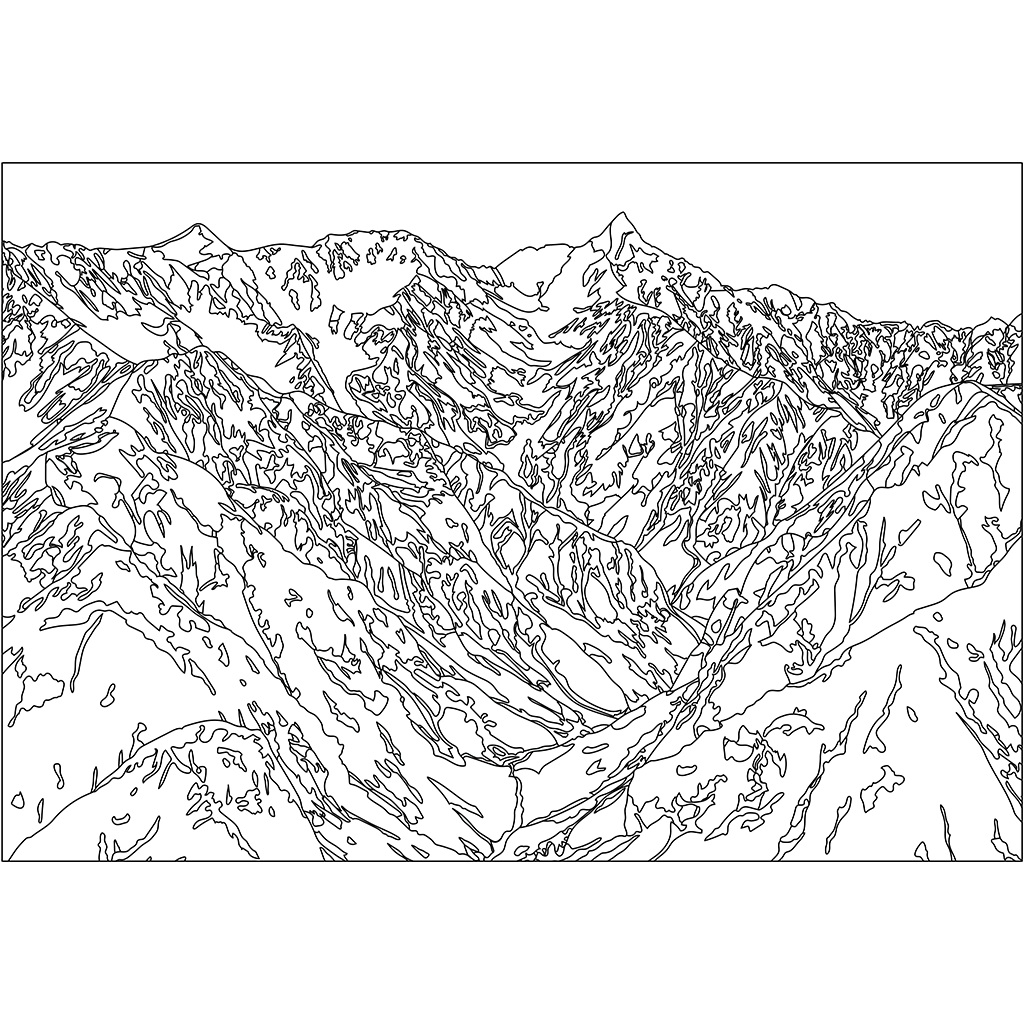 槍ヶ岳:黒線バージョン